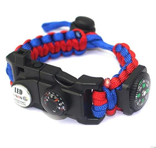 Paracord Survival Armband Kit für Herren Damen, Survival Armband mit Feuerstein + Kompass + Thermome (Rot und Blau)