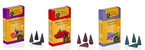 Crottendorfer Sensual Magic Räucherkerzen - Größe: M - 60 Stück - Duft: Provence + Bed of Roses + Wild Romance - Made in Germany