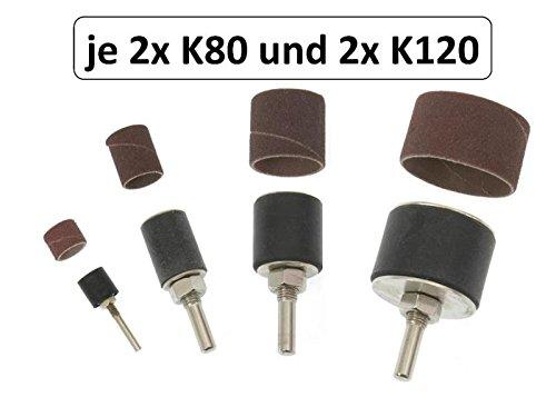 """20 tlg Set: 4x Schleifwalze 1/2"""" 3/4"""" 1"""" 1.5"""" mit 16 Schleifrollen K80 + K120"""