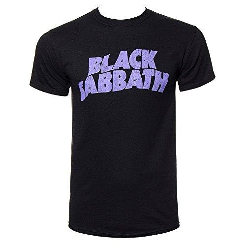 Black Sabbath Wavy Logo T Shirt (Black/Purple)