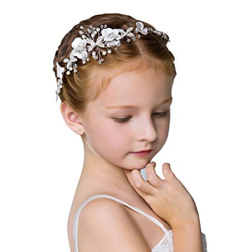 YP MJ Süße Prinzessin Hochzeit Kopfbedeckungen weiße Blume Stirnband Perle Haarschmuck Mädchen und Blumenmädchen & Mädchen Kopf Blume Geburtstag Zeigen Zubehör weiß (Kinder Tanz Kostüm Großhandel)