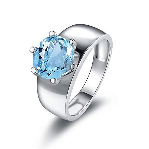 KnSam Damen-Ring 925 Sterling Silber Eheringe Topas Zirkonia Steinchen Antragsring Silberring für Frau Mädchen Ringgröße 52 (16.6) Modeschmuck