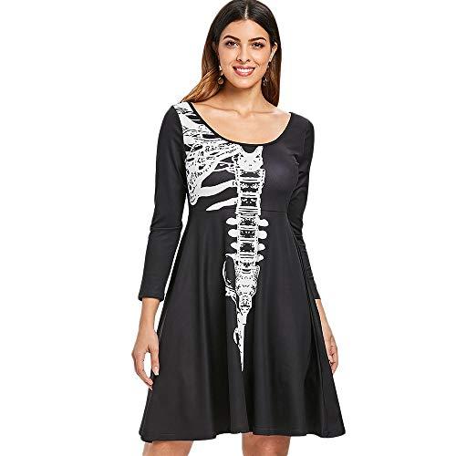 Shangcer Damenrock Halloween Kostüm Damen Langarm Totenköpfe Skelette Kleid Halloween Vampir Kostüm Skelett Print Cosplay Party Kleid Geeignet für alle Gelegenheiten (Color : Schwarz, Size : 2XL) (Skelett Halloween Silhouette)