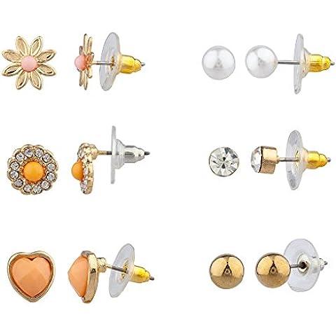 Lux accessori floreale Pave Cuore Più Orecchini con perla di Faux