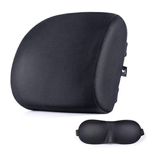 Chairlin Orthopädisches Lendenkissen für Bürostuhl Lordosekissen Stützkissen Rückenunterstützung mit Schlafmaske für Auto, Büro, Rollstuhl und Zuhause in schwarz