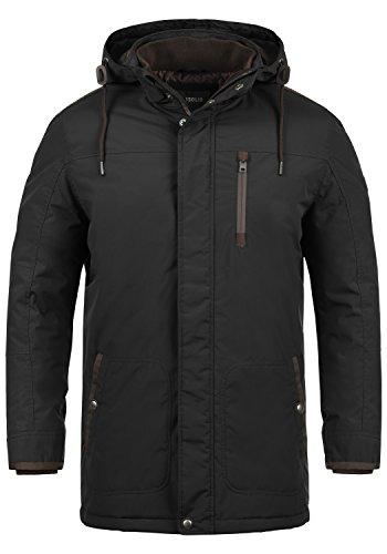 SOLID Dempsey Herren Parka lange Winterjacke Mantel mit Kapuze aus hochwertiger Materialqualität, Größe:M, Farbe:Black (9000)