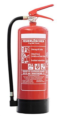 Feuerlöscher 6kg ABC Pulverlöscher mit Manometer EN 3 + ANDRIS® Prüfnachweis mit Jahresmarke & ISO-Symbolschild Folie