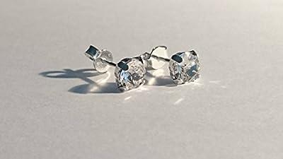 Boucles d'oreilles clou argent 925 strass brillant cristal swarovski cristal argent 925
