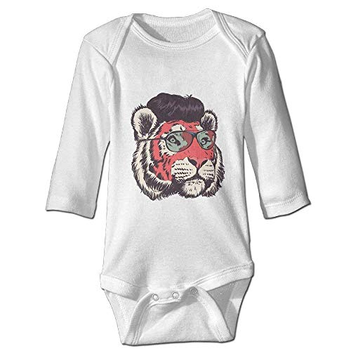 Monicago Neugeborenes Baby-Jungen-Mädchen-Bodysuit-Lange Hülse, Tiger Sunglasses Baby imple Jumpsuits Long Sleeve Bodysuits