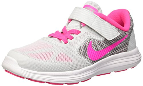 Nike Revolution 3 Psv, Scarpe da Corsa Bambina, Bianco (Pure Platinum/Wolf Grey/Bianco/Pink Blast), 32 (Fucsia Tessuto Calzature)