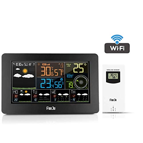 LEMAIC Wi-Fi-Wetterstation mit APP-Steuerung, Smart Weather Monitor-Uhr mit USB-Ladeanschluss, Innenuhr für Außentemperatur und Luftfeuchtigkeit, Windgeschwindigkeits-Digitaluhr mit Außensensor