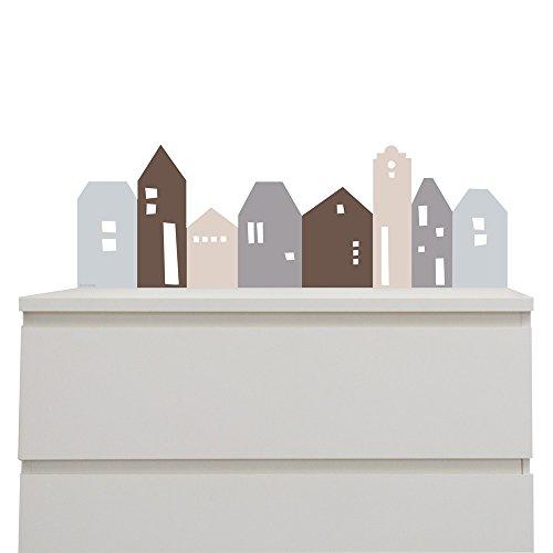 Limmaland Wandtattoo Lille HUS passend für IKEA Malm Kommode (L80cm) - Farbe BlauGrau - Zubehör Kommode -