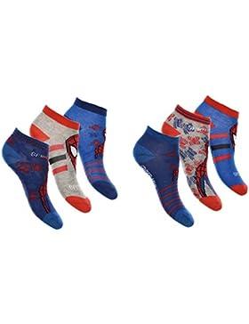 Pack 6 pares de calcetines cortos niño (tobilleros) 6 modelos diferentes diseño SPIDERMAN (Marvel) nums. 23/26...