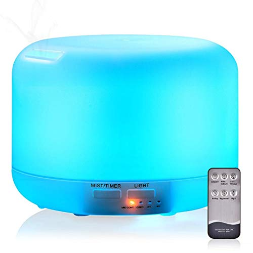 KACOOL Essential Oil Diffuser Humidifier, Ultrasonic 300ML Essential Oil Aroma Diffuser Cool-Mist Humidifier with 7 LED Color Nightlight Options and 4 Timer Settings with Remote Control