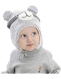 Superora Capello Bambini Invernale in Lana Maglia Paraorecchie Capelli  Berretto Caldo Ragazzi Infantili Animale Orso e8e9dadd7078
