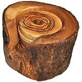 Naturally Med - Set di sottobicchieri in legno di ulivo, con contenitore in vera corteccia