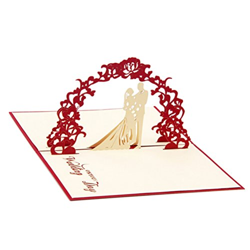 LUOEM 3D Pop up Sweet Heart Love Laser Cut Wedding Gift Greeting Wishes Invitation Card with Envelope - Wedding Invitations (Red)
