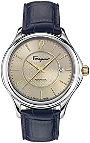 Salvatore Ferragamo Time Men's Automatic Watch With Sand Dial and Blue Leather Strap Fft010016, Analog Dis