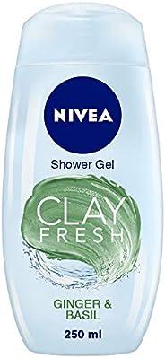 NIVEA Women Body Wash, Clay Fresh Ginger & Basil Shower Gel, for Deep Cleansing & Velvety Soft Skin