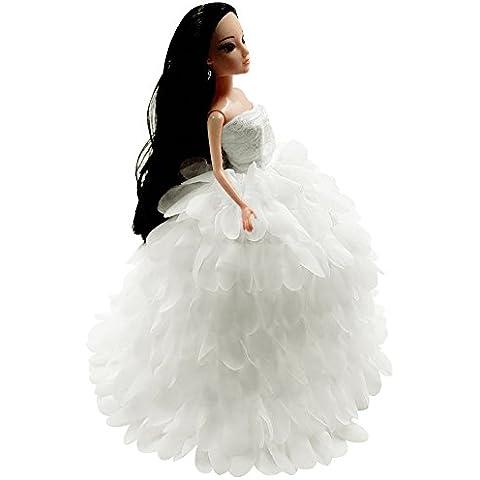 Creation® Precioso encaje hecho a mano del vestido de la ropa original para Barbies muñeca