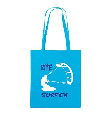 Comedy Bags - Kite Surfen - MOTIV 3 - Jutebeutel - lange Henkel - 38x42cm - Farbe: Schwarz / Weiss-Neongrün Hellblau / Weiss-Royalblau