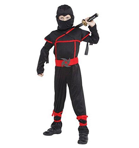 Kinder Ninja Kostüm Samurai Kämpfer Cosplay Krieger Karneval Junge (XL)