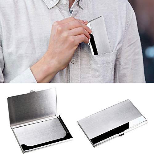 Nahuaa 2 pezzi porta biglietti da visita tascabile in acciaio inox cassa di carta adatto a uomini donne casi tasca custodia per biglietto da visita carta di credito carta d'identità argento