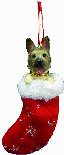 E&S Pets Deutscher Schäferhund Weihnachtsstrumpf Ornament mit Santa 's Little Pals Handbemalt und genäht Detail