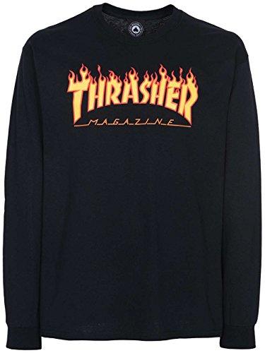 Herren Langarmshirt Thrasher Flame T-Shirt Black