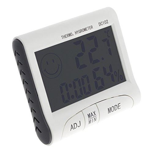 Smartfox Digitale LCD Uhr mit Thermometer Luftfeuchtigkeitsmesser Hygrometer und Alarmfunktion Wecker