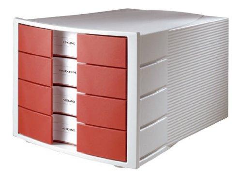 HAN 1010-X-17, Schubladenbox IMPULS, Innovatives, attraktives Design in höchster Qualität. Mit großem Beschriftungsfeld und 4 geschlossenen Schubladen, lichtgrau/ rot