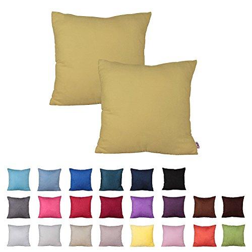 Plandv® - Lot de 2 housses de coussin - Couleur unie, imitation daim, légères, décoration, jaune, 40 x 40 cm