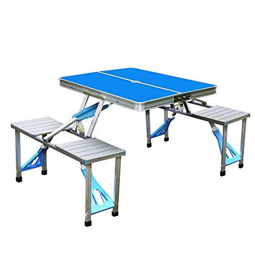 Siamesische Klapptisch Und Stuhl Set Aluminiumlegierung Klapptisch Picknick Portable Indoor Outdoor Koffer Camping Tisch Mit 4 Sitzplätzen, Blau/Grün/Orange (Color : Blue)