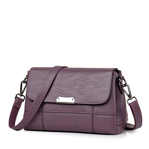 LiZhen di mezza età pacchetto femmina madre custodia nuovi pacchetti per autunno e inverno, elegante e piccolo sacchetto singolo borse a tracolla messenger bag, vino rosso (soft) Viola (soft)
