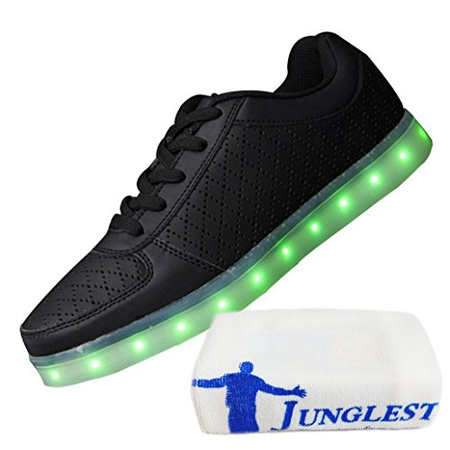 [Présents:petite serviette]JUNGLEST® 7 couleurs de recharge USB LED Light Up Chaussures Couples Luminous flash Sneakers Glow course Casual de Noir
