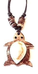 Surferkette Kette Schildkröte mit Kauri Muschel 40 - 80 cm verlängerbar n301b