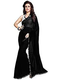 Nena Fashion Saree With Blouse Piece Lace Work Georgette Mirror Border With Blouse Piece Saree (Black)
