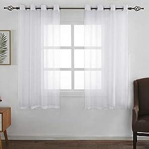 FLOWEROOM Transparent Voile Gardinen - Einfarbige Durchsichtig Vorhänge mit Ösen für Wohnzimmer 175x140 cm Weiß 2er Set