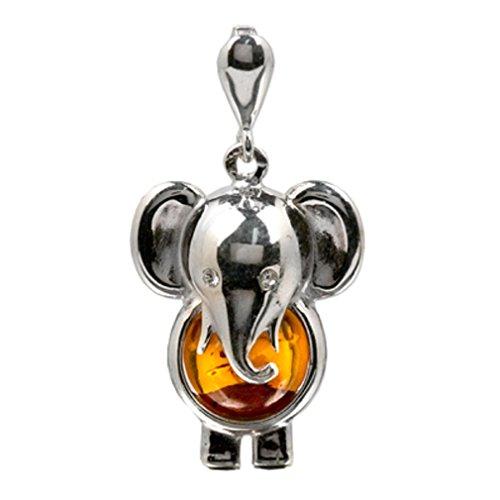 Noda - Colgante con forma de elefante de plata de ley y ámbar báltico color miel