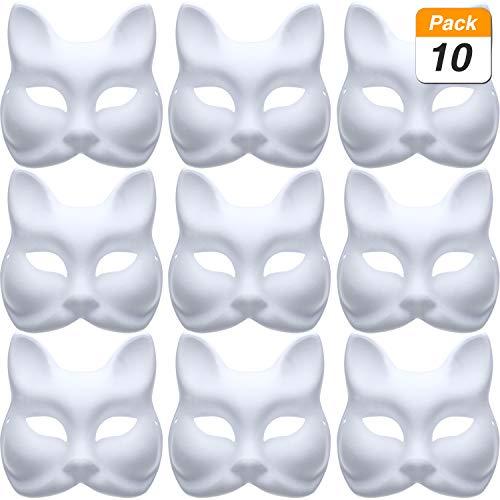 Jovitec 10 Stücke DIY Maskerade Maske Normalpapier Maske Weiß Fuchs Maske für DIY Halloween Karneval Party