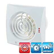 WC Bathroom Extractor Fan With Backdraught Shutter (Nonreturn Valve) 4 Inch / Original Vents 100 T H Quiet Hydro / Humidity Sensor / Timer / Very Quiet / Energy Saving / 24 dB(A) / 97 Meter Kub / H / 7,5 W / Energy Saving / Ball Bearing / Largest European Brand by Vents