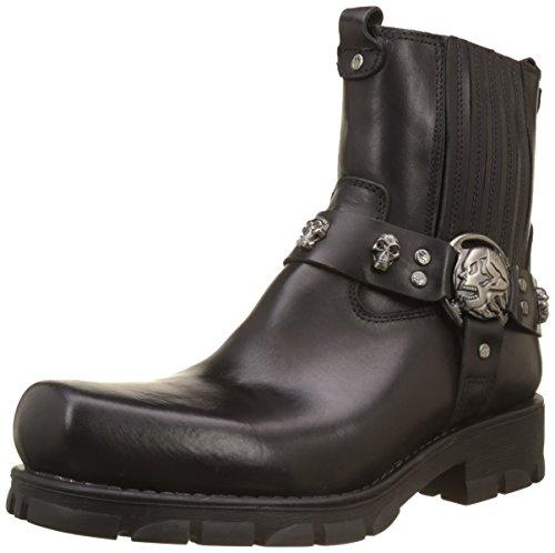 Weiße Leder Western Cowboy Stiefel (New Rock Herren M-7621-S1 Cowboy Stiefel, Noir (Black), 43 EU)
