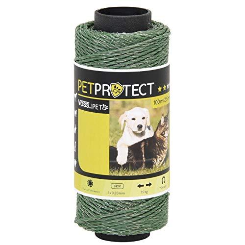 fil électro-plastique - VOSS.miniPET - vert - 100m - acier inox 3x0,20 - fil pour clôtures électriques sûres en milieu privé - pour chiens, chats, et beaucoup d'autres encore.