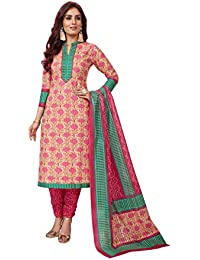 9f3e67f039 Ishin Cotton White & Pink Printed Women's Unstitched Salwar Suits dress  material with Dupatta