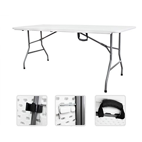 Folding Table With Handle.Large Folding Table Granite White Tabletop 72 X 30 X 29 Inches 29 Pounds Free Carry Handle Included