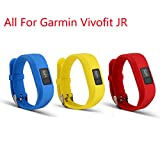 mtsugar Bands For Garmin vivofit JR, Replacement Wristband With Secure Clasps Garmin vivofit JR Only(No tracker, Replacement Bands Only) (Blue&Yellow&Red)