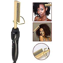 Godya Peigne Lisseur Cheveux Bouclés Double Usage Multifonctionnel - Brosse Lissante Chauffante Rapide - 20 Réglages De Chaleur Variables pour Cheveux Secs & Mouillés