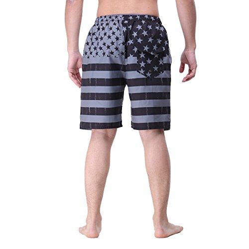 Uomo Quick Dry Stripe Swim Trunks Shorts da spiaggia con fodera in rete con cordoncino regolabile blackflag