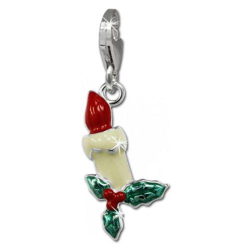 SilberDream Charm Weihnachtskerze 925 Sterling Silber Charms Anhänger für Armband Kette Ohrring FC847W