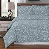 Generic Full Queen Ema 100% Cotton Contemporary Duvet Cover Set 300 ThreadCount Gray/White
